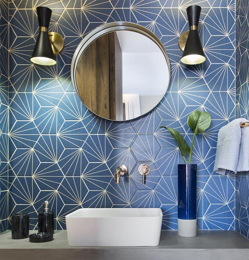 a blue starburst tile demands attention