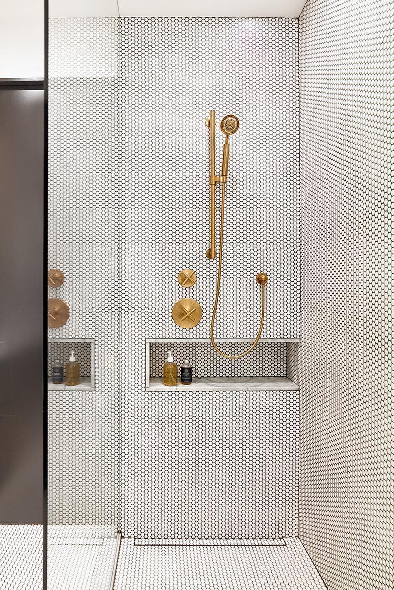 contemporist penny tiles and brass