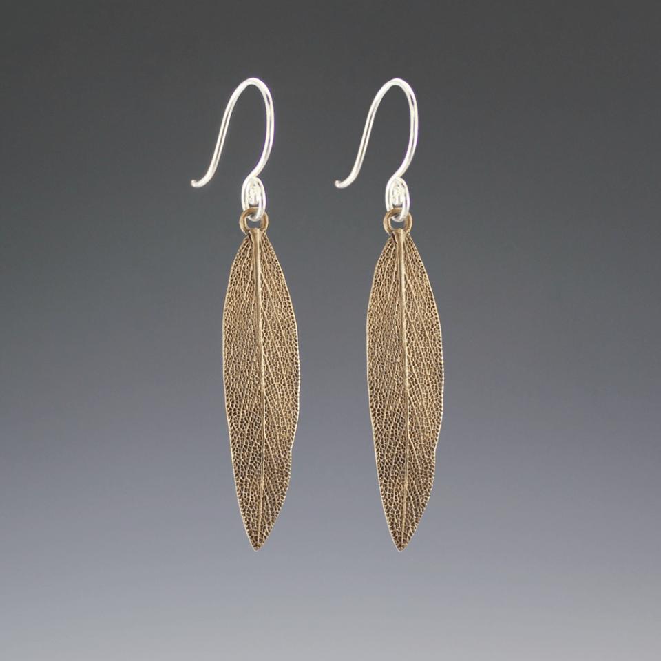 DaVine Jewelry, Bronze Sage Leaf Dangle Earrings