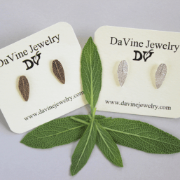 DaVine Jewelry, Sage Leaf Stud Earrings in Sterling Silver and Bronze