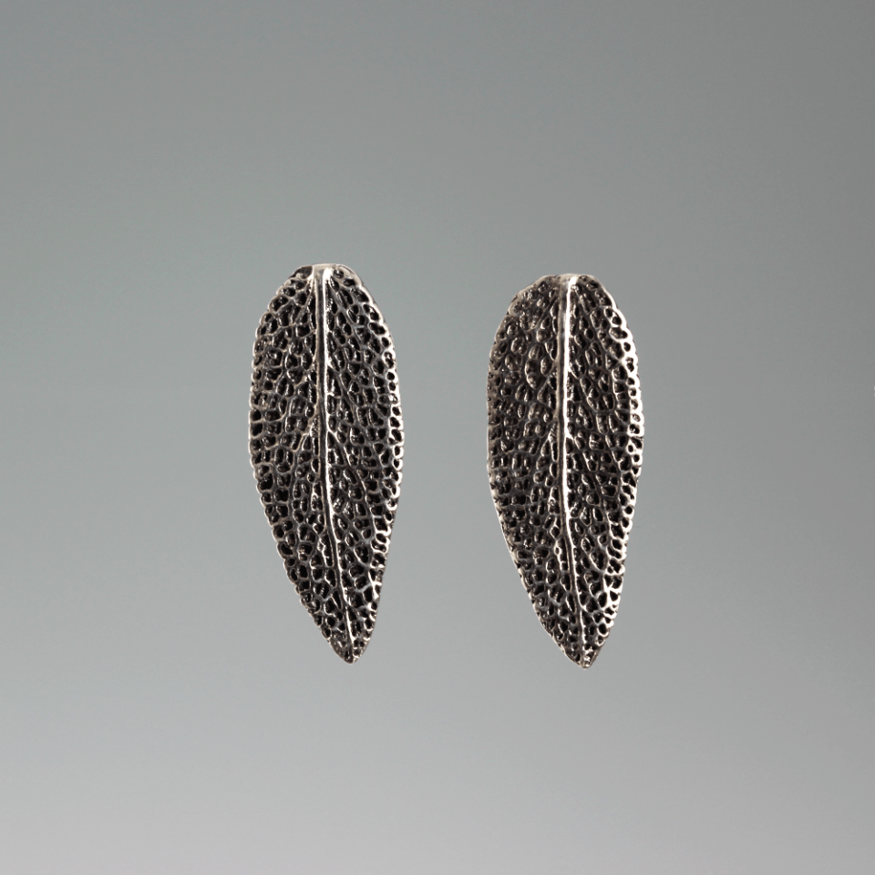 DaVine Jewelry, Dark Sterling Silver Sage Leaf Stud Earrings, Patina Finish