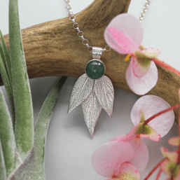 DaVine Jewelry, Green Aventurine and Sterling Silver Pineapple Sage Leaves Pendant