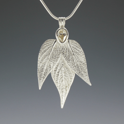 DaVine Jewelry, Teardrop Cubic Zirconia Pineapple Sage Leaves Sterling Silver Pendant