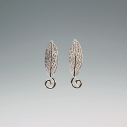 DaVine Jewelry, Sterling Silver Sage Leaf with Spiral Stud Earrings