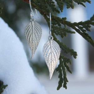 DaVine Jewelry, Sterling Silver Pineapple Sage Leaf Dangle Earrings