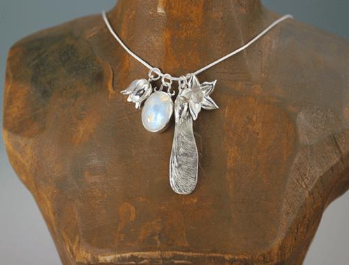 DaVine Jewelry, Silver Maple Pod Moonstone Lily Stephanotis Flower Charm Pendant