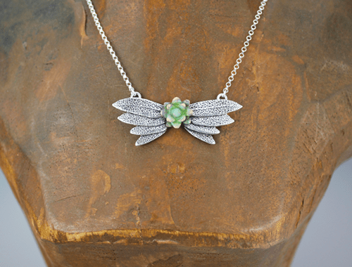 DaVine Jewelry, Silver Sage Leaves Wings with Bronze Flower Necklace