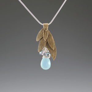 DaVine Jewelry, Sage Leaf Bouquet Pendant Bronze with Blue Chalcedony