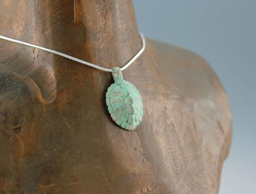 DaVine Jewelry, Bronze Turtle Shell Pendant with Green Patina