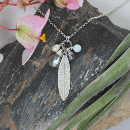 DaVine Jewelry, Labradoriteand Sterling Silver Sage Leaf Charmy Necklace