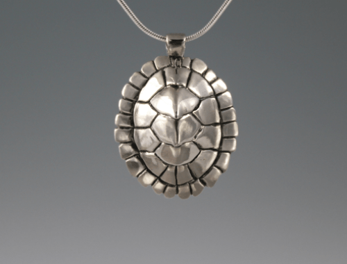 DaVine Jewelry, Custom Map Turtle Shell Pendant Sterling Silver