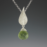 DaVine Jewelry, Pineapple Sage Leaf and Jade Pendant Sterling Silver
