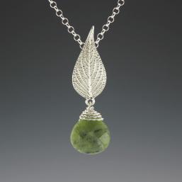 DaVine Jewelry, Pineapple Sage Leaf and Jade Pendant Sterling Silver