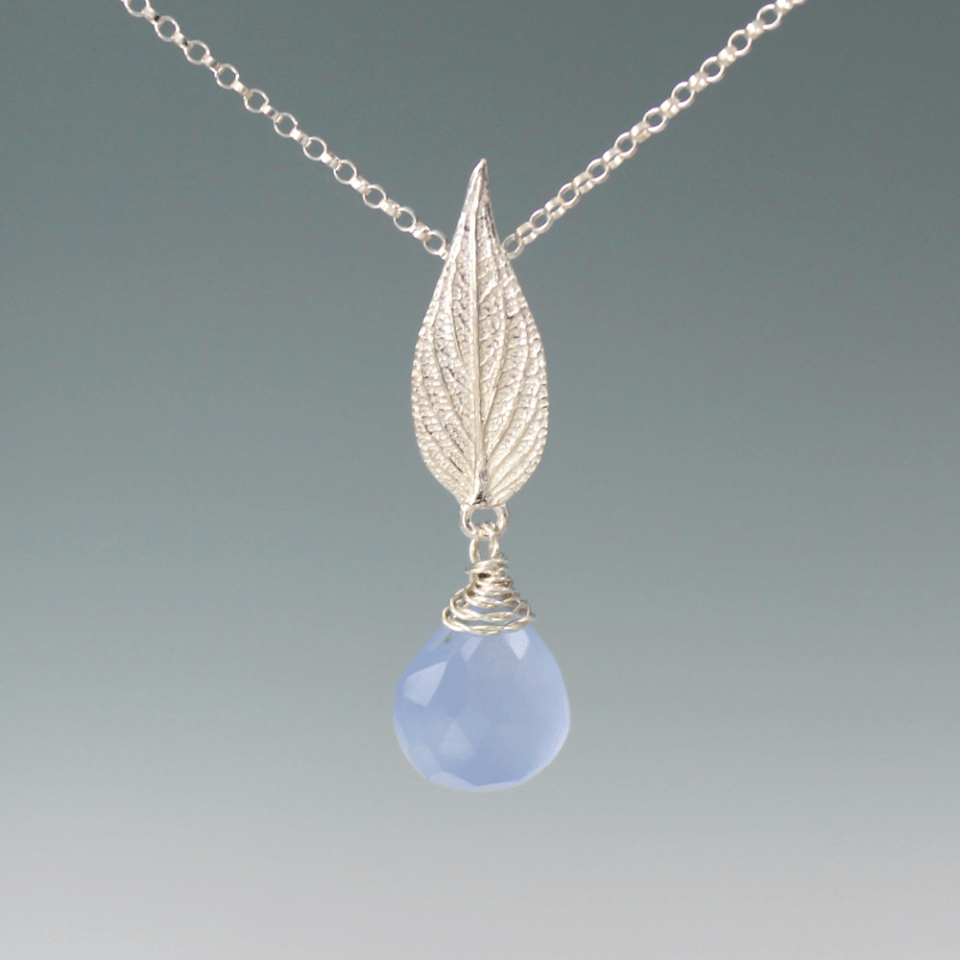 DaVine Jewelry, Sterling Silver Pineapple Sage Leaf and Blue Chalcedony Briolette Pendant Necklace