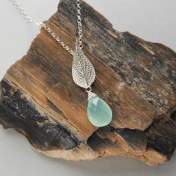DaVine Jewelry, Sterling Silver Pineapple Sage Leaf and Labradorite Briolette Pendant Necklace
