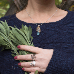 DaVine Jewelry, Sage Leaf Rings and Necklace