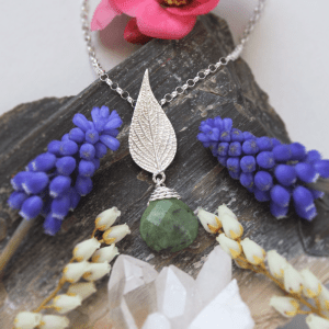 DaVine Jewelry, Silver Pineapple Sage Leaf and Green Jade Pendant