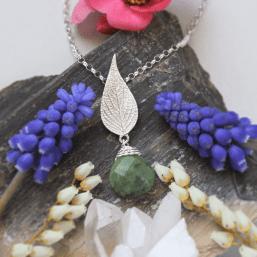 DaVine Jewelry, Silver Pineapple Sage Leaf and Green Jade Pendant