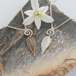 DaVine Jewelry, Small Pineapple Sage Leaf Spiral Pendants Silver and Bronze