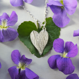 DaVine Jewelry, Sterling Silver Sage Leaf Heart Necklace