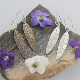 DaVine Jewelry, Long Garden Sage Leaf Dangle Earrings Silver and Bronze