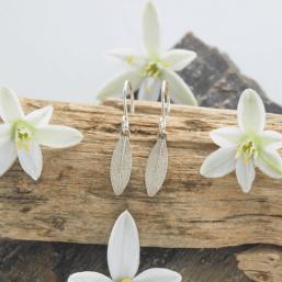 DaVine Jewelry, Delicate Silver Garden Sage Leaf Dangle Earrings