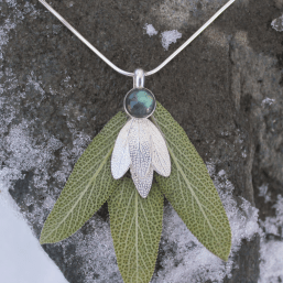 DaVine Jewelry, Labradorite and Sterling Silver Sage Leaves Pendant