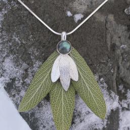 DaVine Jewelry, Labradorite and Sterling Silver Sage Leaves Pendant