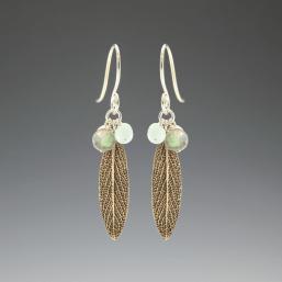 DaVine Jewelry, Bronze Sage Leaf and Labradorite Dangle Earrings