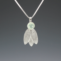 DaVine Jewelry, Sage Leaves and Prehnite Silver Pendant