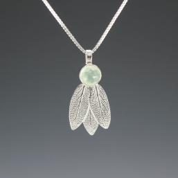 DaVine Jewelry, Sage Leaves and Prehnite Silver Pendant