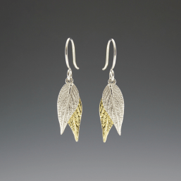 DaVine Jewelry, Gold and Silver Pineapple Sage Leaf Dangle Earrings