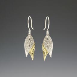 DaVine Jewelry, Gold and Silver Pineapple Sage Leaf Dangle Earrings