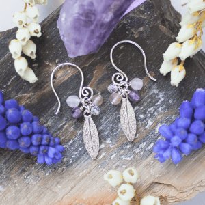 DaVine Jewelry, Delicate Silver Sage Leaf and Amethyst Stone Dangle Earrings