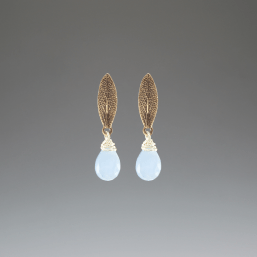 DaVine Jewelry, Sage Leaf and Blue Chalcedony Bronze Stud Earrings