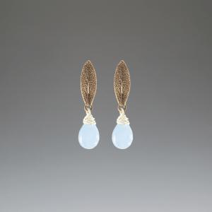 DaVine Jewelry, Sage Leaf and Blue Chalcedony Bronze Stud Earrings