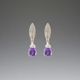 DaVine Jewelry, Sage Leaf and Amethyst Silver Stud Earrings