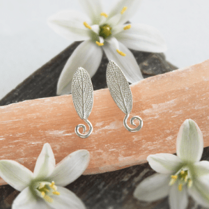 DaVine Jewelry, Silver Garden Sage Leaf Spiral Stud Earrings