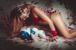woman with red lingerie