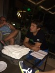 Evening briefing. The horrors of tomorrow's climb up scorpions ascent are discussed