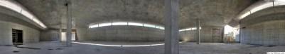 360° Panorama, Abfüllhalle im Rohbau, Kellerei Terlan