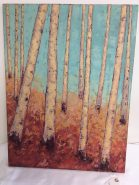 Birch tree painting by Kim Rhoney