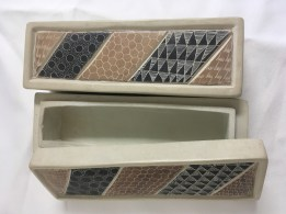 Set of two Kenyan soapstone carved boxes