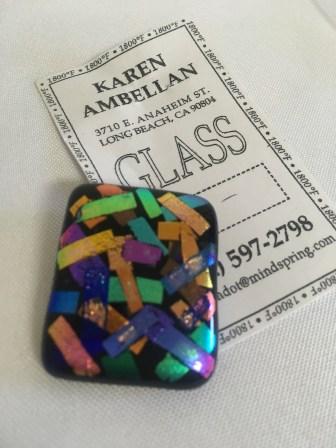 Diachroic glass pin by Karen Ambellan