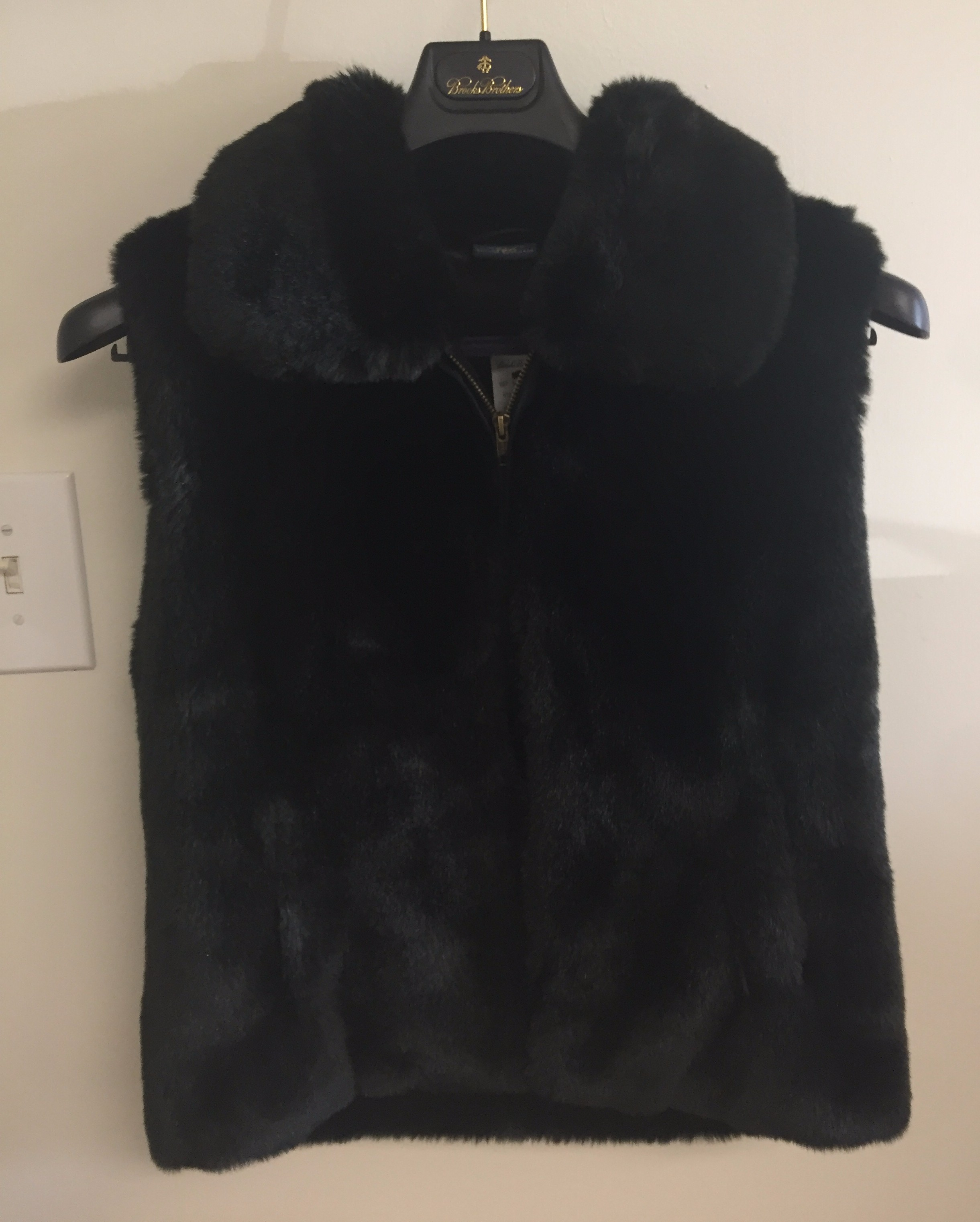 Brooks Brothers faux fur jacket donated by Debra Jay