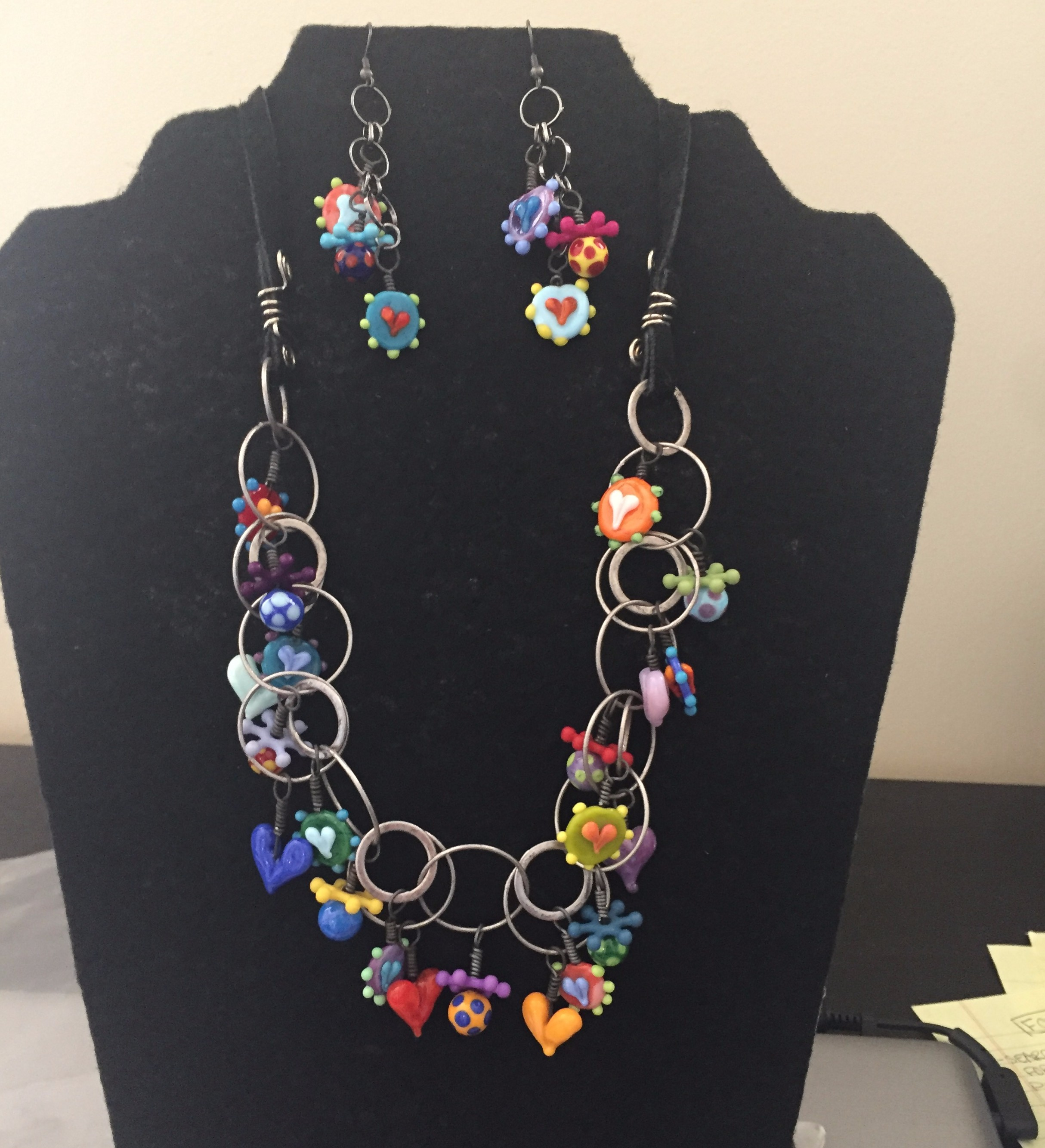 Strings of Bling whimsy necklace and earring set