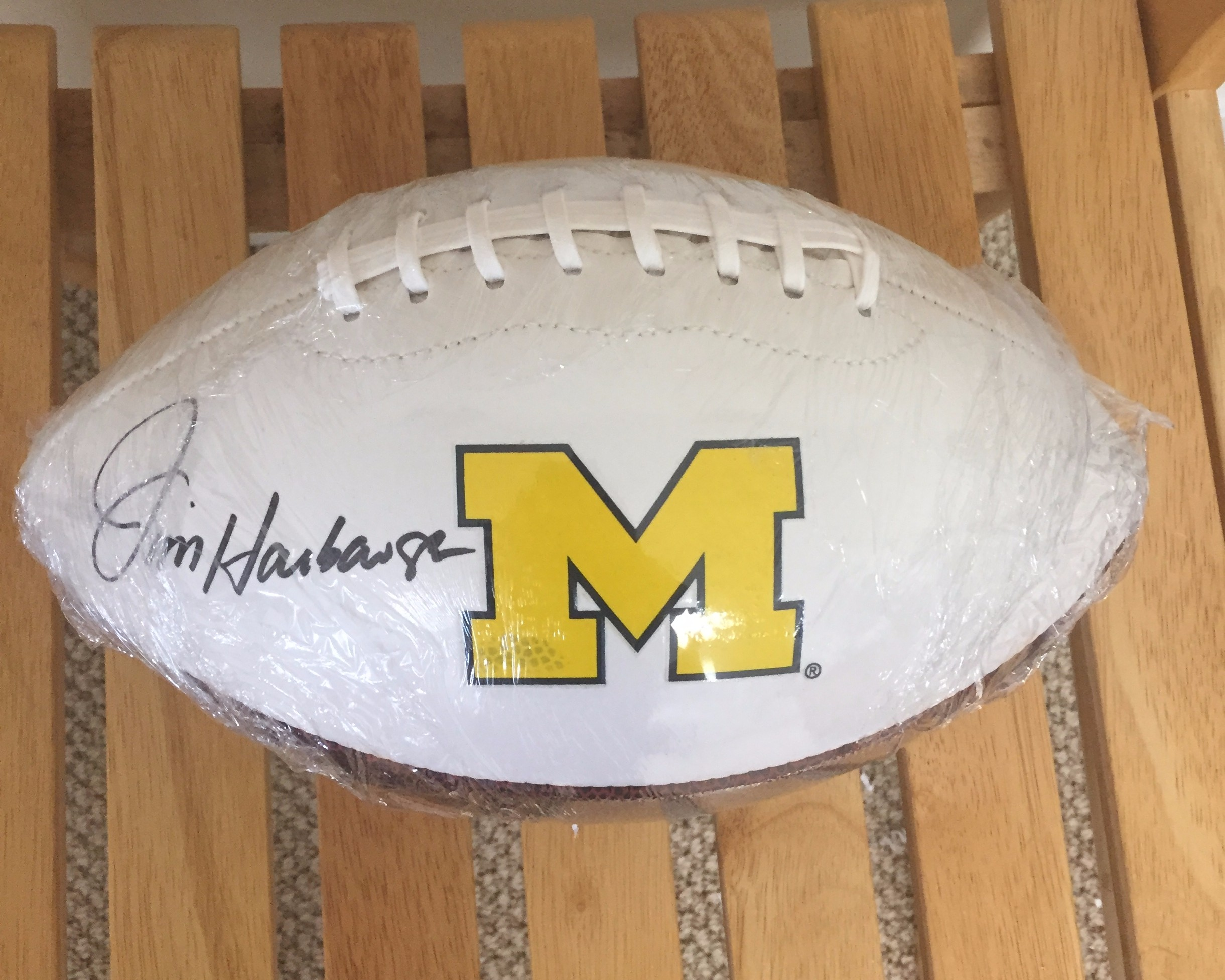 Coach Harbaugh signed football