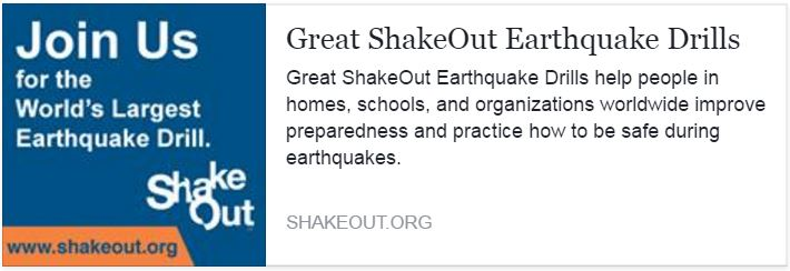 October 20, 2016 - ShakeOut drills