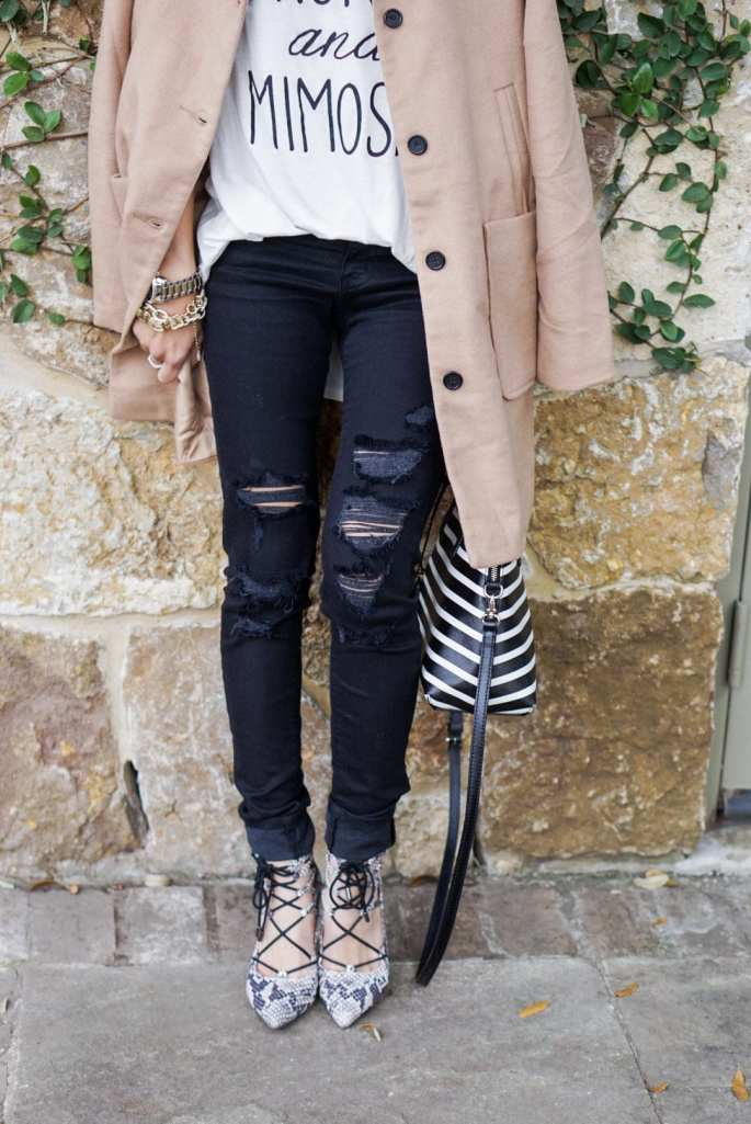 camel peacoat, lace up heels, ripped black jeans