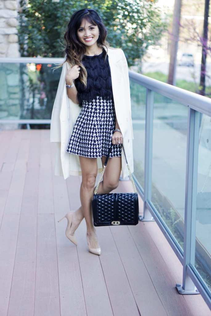 rebecca minkoff, blazer, chicwish, houndstooth skirt, nude heels, fringe top